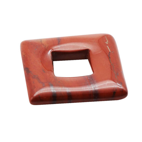 pendentif pi chinois ou donut jaspe rouge carré