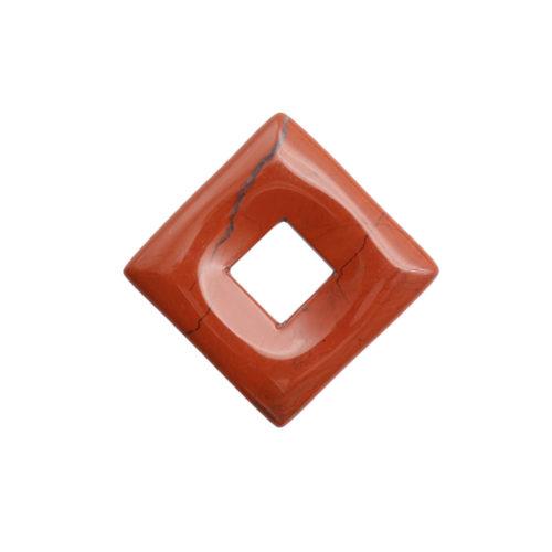 pendentif pi chinois ou donut jaspe rouge petit carré