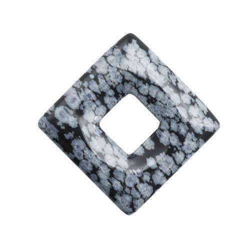 pendentif pi chinois ou donut obsidienne neige carré