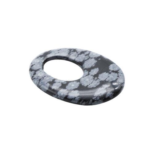 pendentif pi chinois ou donut obsidienne neige oval