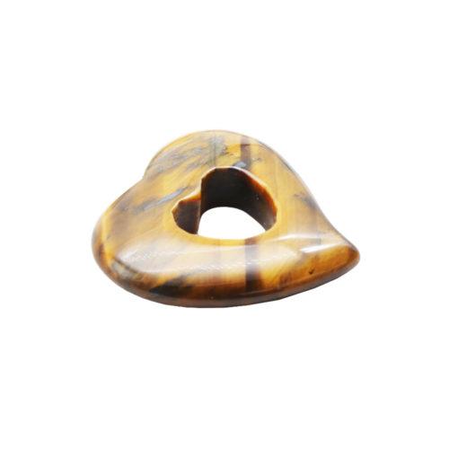 pendentif pi chinois ou donut oeil de tigre coeur