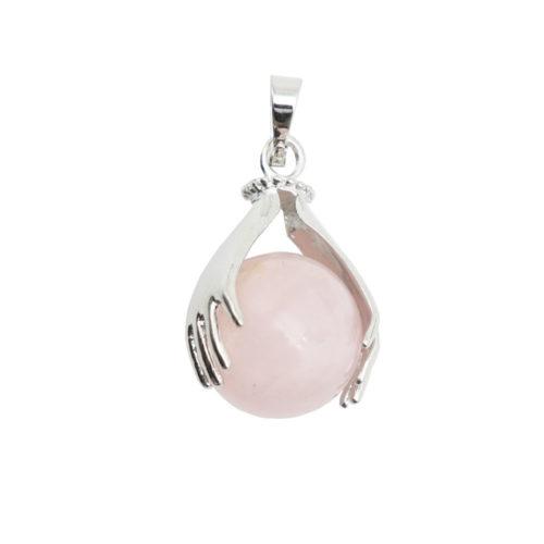 pendentif quartz rose deux mains