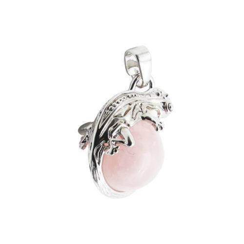 pendentif quartz rose lezard