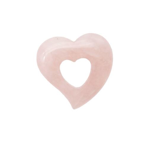 pendentif pi chinois ou donut quartz rose coeur