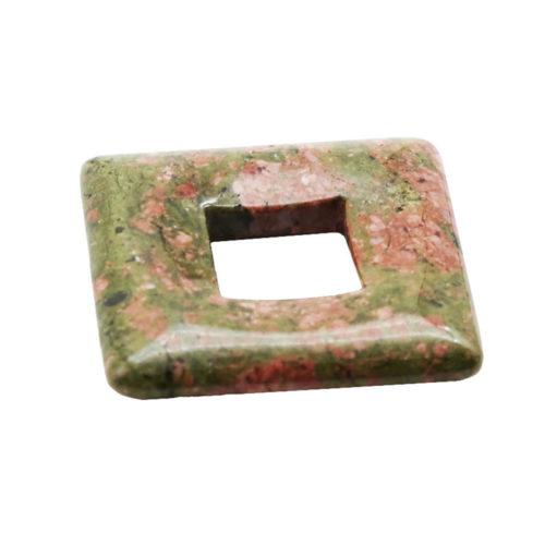 pendentif pi chinois ou donut unakite carré