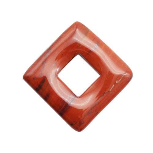 pi chinois ou donut jaspe rouge carré