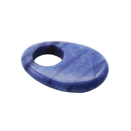 pi chinois ou donut quartz bleu oval